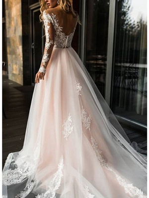 A-Line Wedding Dresses V Neck Sweep \ Brush Train Lace Tulle Long Sleeve Romantic Boho Illusion Sleeve_2