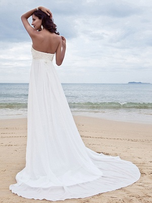 A-Line Wedding Dresses Sweetheart Neckline Court Train Chiffon Strapless Simple Beach Plus Size_2
