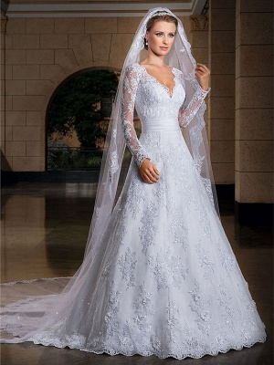 A-Line Wedding Dresses V Neck Court Train Lace Sequined Long Sleeve Formal Sexy Illusion Sleeve_1