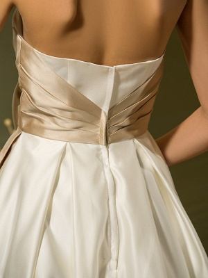 A-Line Wedding Dresses Sweetheart Neckline Tea Length Satin Strapless Casual Vintage Little White Dress Plus Size_9