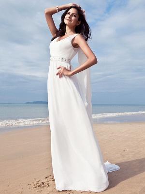 Sheath \ Column Wedding Dresses V Neck Floor Length Chiffon Regular Straps Simple Beach Plus Size_4