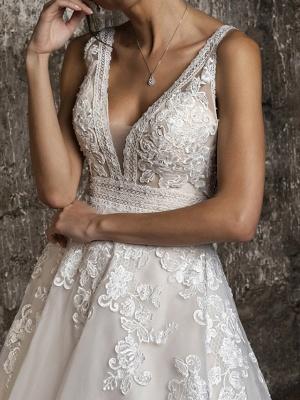 A-Line Wedding Dresses V Neck Sweep \ Brush Train Tulle Sleeveless Formal_3