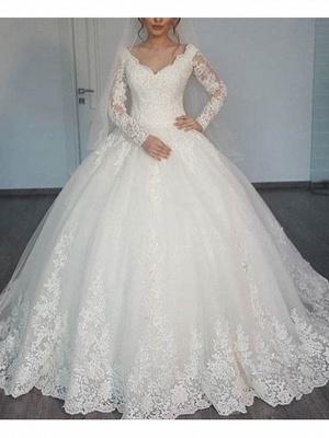 A-Line Wedding Dresses V Neck Sweep \ Brush Train Lace Long Sleeve Illusion Sleeve_1