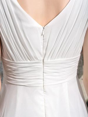 A-Line Wedding Dresses V Neck Asymmetrical Georgette Regular Straps Formal Simple Casual Plus Size_8