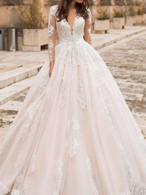 A-Line V Neck Court Train Lace Tulle Short Sleeve Vintage Sexy Wedding Dress in Color Backless Wedding Dresses_2
