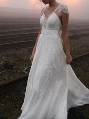 A-Line Wedding Dresses V Neck Sweep \ Brush Train Chiffon Lace Cap Sleeve Plus Size_1