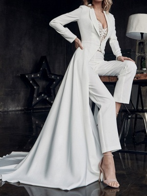 Two Piece Jumpsuits Wedding Dresses V Neck Sweep \ Brush Train Stretch Satin Long Sleeve Country Plus Size_3