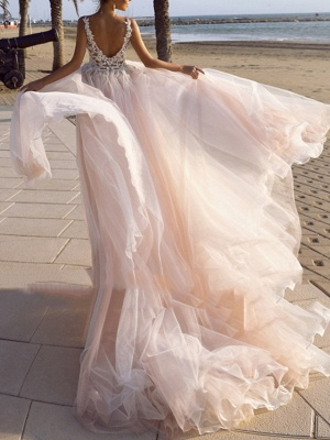 A-Line Wedding Dresses V Neck Spaghetti Strap Sweep \ Brush Train Lace Tulle Sleeveless Beach Sexy Backless_2