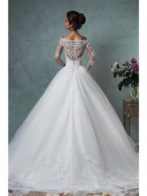 A-Line Wedding Dresses Off Shoulder Court Train Lace Tulle Long Sleeve Formal See-Through_2