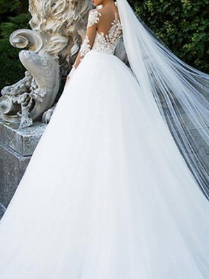 Ball Gown A-Line Wedding Dresses Jewel Neck Sweep \ Brush Train Lace Tulle Long Sleeve Formal Sexy See-Through Backless_2
