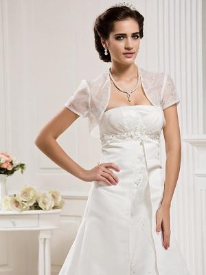 Princess A-Line Wedding Dresses Strapless Court Train Organza Satin Sleeveless_5
