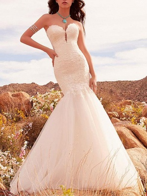 Mermaid \ Trumpet Strapless Sweep \ Brush Train Lace Tulle Sleeveless Formal Sexy Backless Wedding Dresses_3