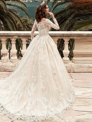 Ball Gown Wedding Dresses Off Shoulder Court Train Lace Long Sleeve Formal_2