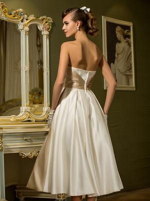 A-Line Wedding Dresses Sweetheart Neckline Tea Length Satin Strapless Casual Vintage Little White Dress Plus Size_7