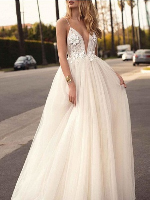 A-Line Wedding Dresses V Neck Court Train Tulle Spaghetti Strap Romantic Casual Boho Illusion Detail Backless_4