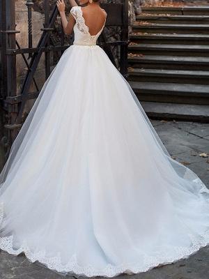 A-Line Wedding Dresses Bateau Neck Sweep \ Brush Train Lace Cap Sleeve Glamorous Vintage Illusion Detail Backless_3