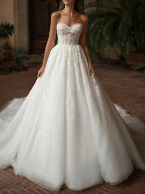 Ball Gown Wedding Dresses Strapless Sweep \ Brush Train Lace Tulle Strapless Formal Plus Size_1
