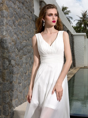 A-Line Wedding Dresses V Neck Asymmetrical Georgette Regular Straps Formal Simple Casual Plus Size_6