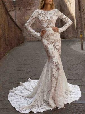Mermaid \ Trumpet Wedding Dresses Bateau Neck Sweep \ Brush Train Lace Long Sleeve Romantic Boho See-Through Illusion Sleeve_1