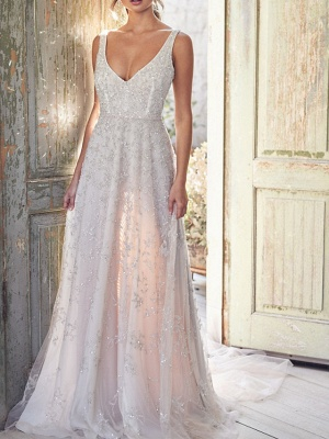 A-Line Wedding Dresses V Neck Chapel Train Lace Sleeveless Sexy Wedding Dress in Color_5