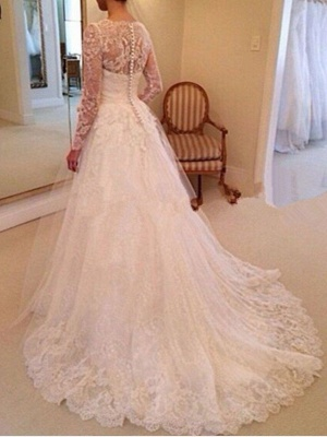 A-Line Wedding Dresses V Neck Chapel Train Lace Tulle Long Sleeve Country_2