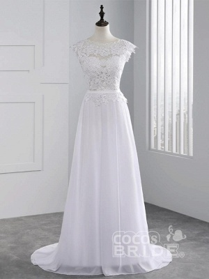 Cheap Jewel Backless Lace A-Line Wedding Dresses_1