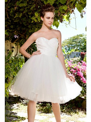 Ball Gown Wedding Dresses Sweetheart Neckline Knee Length Taffeta Tulle Strapless See-Through_5