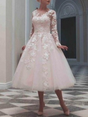 Ball Gown Wedding Dresses Jewel Neck Tea Length Lace Tulle Long Sleeve Casual Vintage Little White Dress See-Through Cute_1