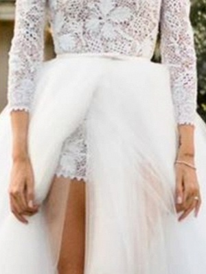 Jumpsuits Ball Gown Wedding Dresses High Neck Floor Length Lace Tulle 3\4 Length Sleeve Sexy See-Through_3