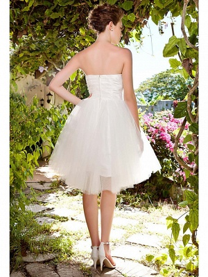 Ball Gown Wedding Dresses Sweetheart Neckline Knee Length Taffeta Tulle Strapless See-Through_2