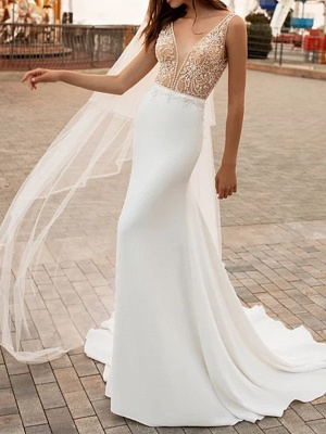 Mermaid \ Trumpet Wedding Dresses V Neck Court Train Satin Regular Straps_1