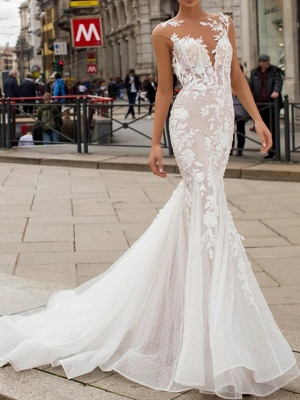 Mermaid \ Trumpet Wedding Dresses Jewel Neck Sweep \ Brush Train Lace Tulle Cap Sleeve Vintage Sexy Wedding Dress in Color See-Through Backless_1
