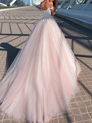 A-Line Wedding Dresses Off Shoulder Court Train Tulle Short Sleeve Romantic Illusion Detail_3