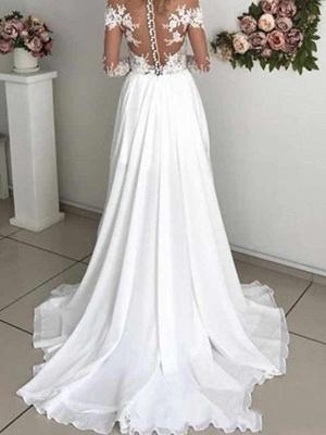 A-Line Wedding Dresses Off Shoulder Sweep \ Brush Train Chiffon Taffeta Stretch Satin Long Sleeve Country Sexy Plus Size_2