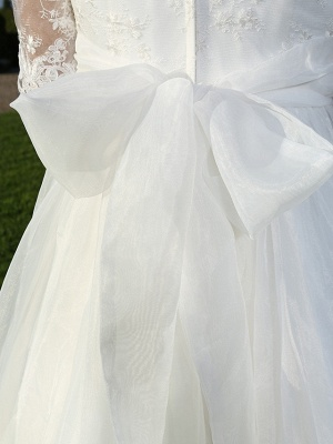 A-Line Wedding Dresses V Neck Ankle Length Organza Sheer Lace Half Sleeve Country Casual Vintage See-Through Illusion Sleeve_10