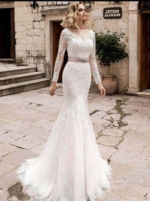Mermaid \ Trumpet Wedding Dresses Jewel Neck Court Train Lace Tulle Lace Over Satin Long Sleeve Plus Size Illusion Sleeve_3