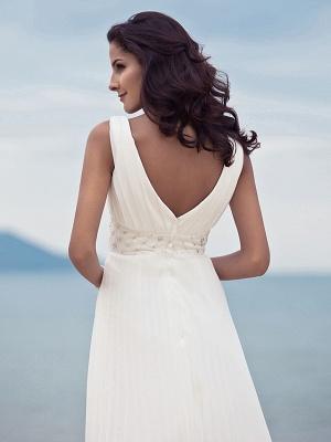 Sheath \ Column Wedding Dresses Straps V Neck Sweep \ Brush Train Floor Length Chiffon Sleeveless_8