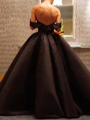Ball Gown Wedding Dresses Off Shoulder Floor Length Polyester Strapless Formal Plus Size Black_2