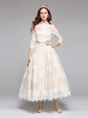 A-Line Wedding Dresses Bateau Neck Ankle Length Lace Over Satin 3\4 Length Sleeve Casual Boho See-Through Cute Illusion Sleeve_3