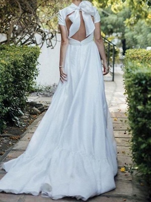 A-Line Wedding Dresses High Neck Sweep \ Brush Train Polyester Short Sleeve Formal Plus Size Modern_2