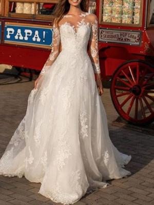 A-Line Wedding Dresses Jewel Neck Floor Length Polyester Long Sleeve Formal Boho Plus Size Illusion Sleeve_1