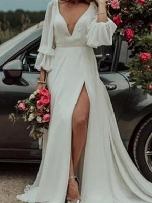 A-Line Wedding Dresses Plunging Neck Sweep \ Brush Train Chiffon Long Sleeve Country Plus Size_3