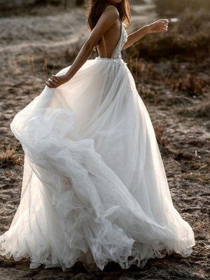 A-Line Wedding Dresses Spaghetti Strap Plunging Neck Sweep \ Brush Train Lace Tulle Sleeveless Beach Sexy See-Through_2