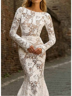 Mermaid \ Trumpet Jewel Neck Sweep \ Brush Train Polyester Long Sleeve Country See-Through Plus Size Illusion Sleeve Wedding Dresses_3