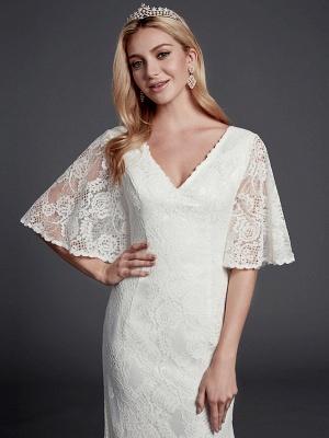 Mermaid \ Trumpet Wedding Dresses V Neck Sweep \ Brush Train Lace Half Sleeve Beautiful Back_5
