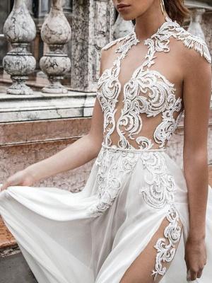 Two Piece A-Line Wedding Dresses Halter Neck Sweep \ Brush Train Detachable Lace Chiffon Over Satin Sleeveless Beach Boho Sexy See-Through_3