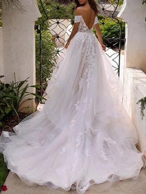 A-Line Wedding Dresses Off Shoulder Sweep \ Brush Train Lace Tulle Sleeveless Country Plus Size_2