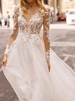 A-Line Wedding Dresses Plunging Neck Sweep \ Brush Train Lace Tulle Chiffon Over Satin Long Sleeve Country Plus Size_3