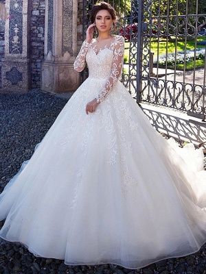Ball Gown Jewel Neck Court Train Lace Tulle Long Sleeve Plus Size Illusion Sleeve Wedding Dresses_1