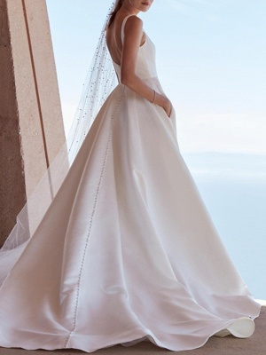 A-Line Wedding Dresses Square Neck Sweep \ Brush Train Satin Spaghetti Strap Plus Size Elegant_2